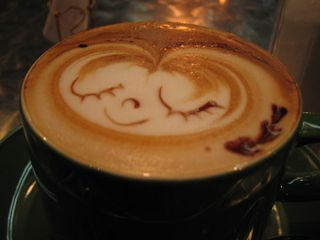 face on cappuccino